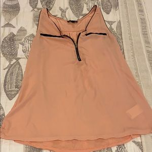 Express Mixed Media Piped Zip Up Tank Size M